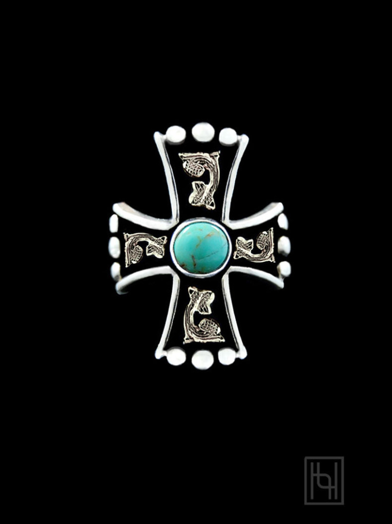 Western Turquoise Cross Ring with Antique