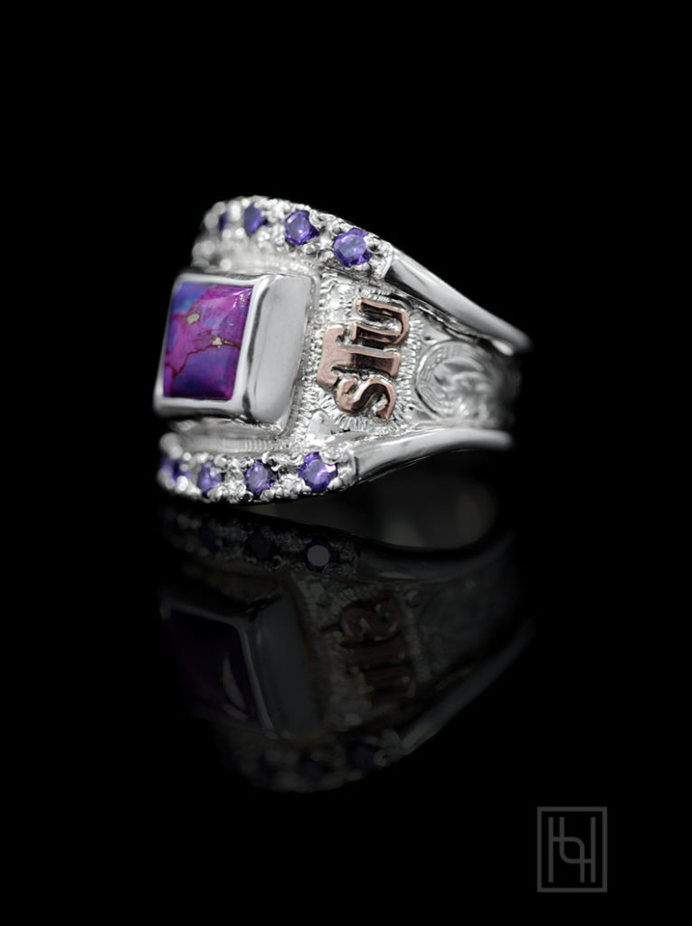 Custom Texas RimRock Ring- Bright Silver Engraved Scrolls, RG Lettering, Purple Turquoise 6 mm, Amethyst Purple Accents