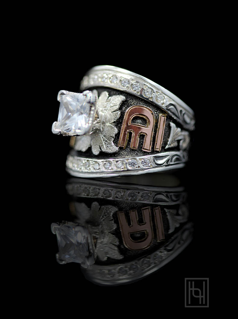 Personalized Crystal & Solitaire Statement Ring