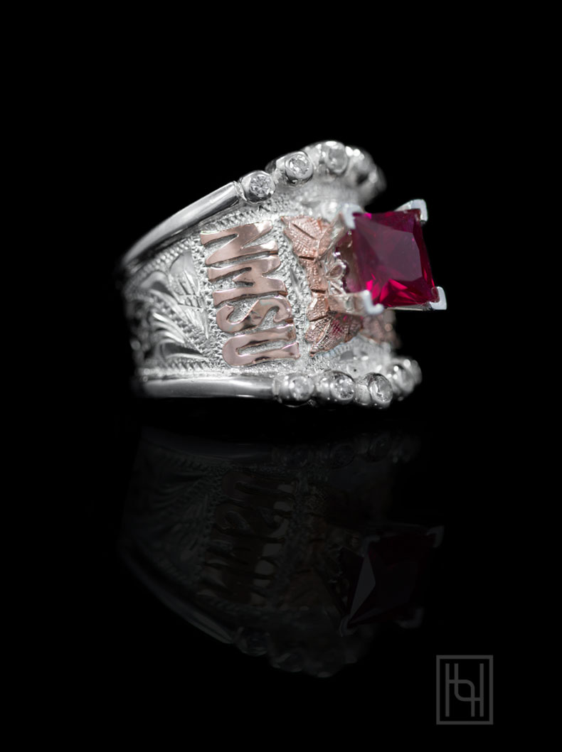 BSR019SB- Bright Silver Engraved Scrolls, Rose Gold Lettering & Leaf, 8 mm ruby red stone